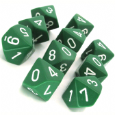 Green & White Opaque D10 Ten Sided Dice Set